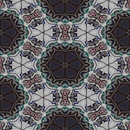 Floral decorative historical oriental arabian cashmere fractal seamless pattern Stock Photo