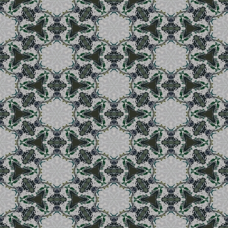 cashmere: Floral decorative historical oriental arabian lacy green gray cashmere fractal seamless pattern Stock Photo