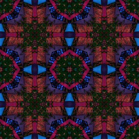 mirroring: Red blue green regular mirroring kaleidoscopic ornamental historical seamless pattern Stock Photo