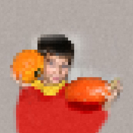 pixelation: Pixelated half figure of girl with pumpkins Usable as a template for cross embroidery.