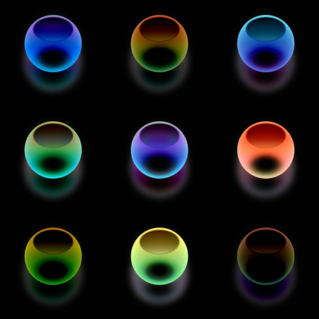 opalescent: Colorful psychedelic bubbles with reflection on black background