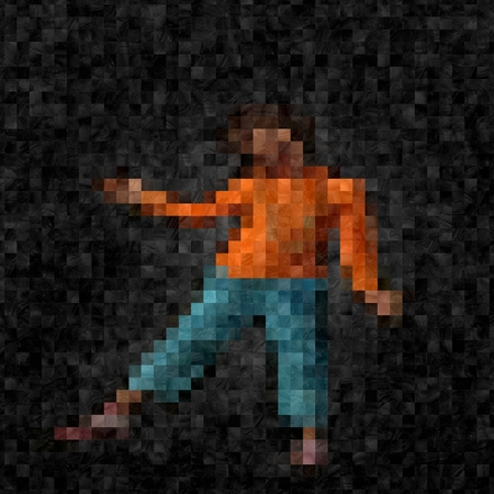 pixelation: Illustration of child in orange shirt and blue trousers with pixelated mosaic effect and glass illusion.