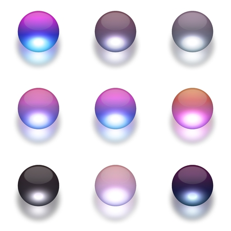 Colorful crystal ball sphere with shadow design elements set on white Stock Photo