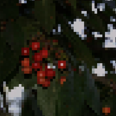 usable: Square pixelated illustration of cherry fruits on branch of tree. Usable as a template for cross embroidery.