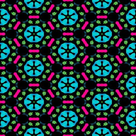 pink black: Abstract kaleidoscopic blue pink black floral regular seamless pattern