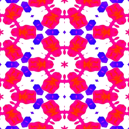 playful: Red blue white decorative kaleidoscopic fractal floral starry regular mirroring vibrant optimistic playful beautiful pattern Stock Photo