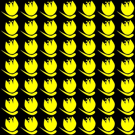 exaggerated: Floral decorative pattern on squared tile - yellow tulips on black background - in retro style of old computer games
