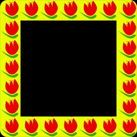 composed: Yellow frame or border with red petal and green leaf tulip flower regular composed - isolated on black - digitally rendered retro design