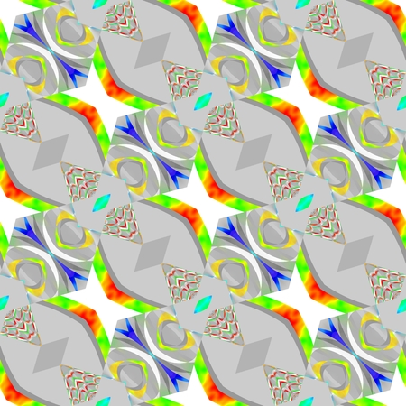 sidebar: Abstract yellow red blue green white gray seamless diagonally pattern Stock Photo