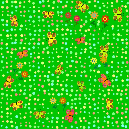 coatings: Flowers and butterflies - red orange yellow green funny decorative cartoon style seamless pattern - usable for childrens clothes or bedding (coatings).