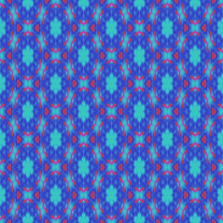 courtain: Blue seamless retro pattern - textured background with a repeating kaleidoscopic motif on square tile Stock Photo
