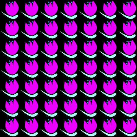 exaggerated: Floral decorative pattern on squared tile - pink white tulips on black background - in retro style of old computer games