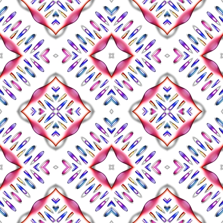 carpeting: Seamless pattern white red pink blue rhombic checkered oblique carpeting design - digitally rendered illustration Stock Photo