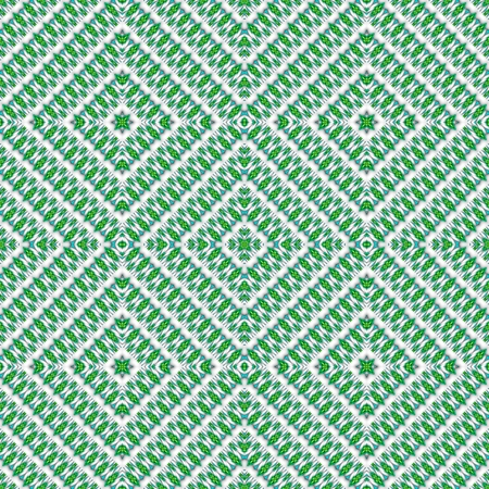 mirroring: Abstract seamless green white rhombic kaleidoscopic background