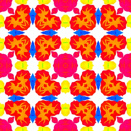 gaudy: Abstract vibrant gaudy colorful decorative seamless pattern on square tile