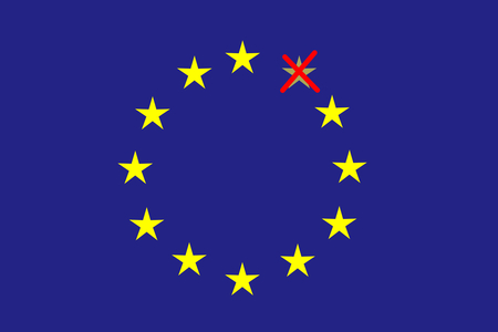 disintegration: On the blue horizontal rectangle formed a circle of twelve yellow stars one of which is red crossed out. Fantasy on a theme leaving the European Union.