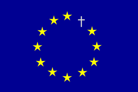 instability: On the blue horizontal rectangle formed a circle of twelve yellow stars and one gray cross. Fantasy on a theme leaving the European Union.