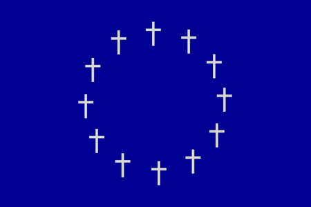 unsure: The circle of twelve crosses on gray blue rectangular horizontal surface. Fantasy on the theme of speculation about the disintegration of the European Union.