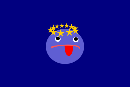 reluctance: Resistance bluish face with tongue around his head in a small circle of gold stars, all in blue rectangular box. Reluctance to remain in the European Union. Illustration