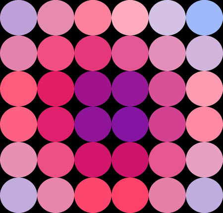 Abstract purple red pink violet pattern of circular geometric shapes on black background