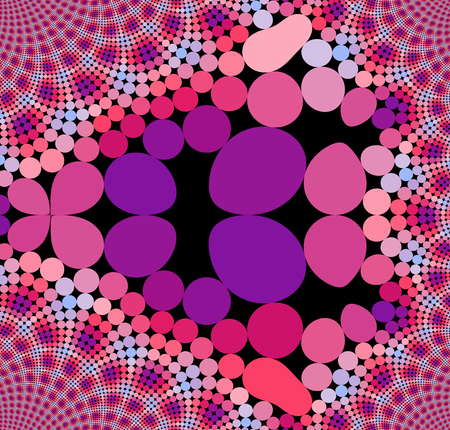 lacking: Abstract pink red purple violet blue geometric pattern on black background in op art style
