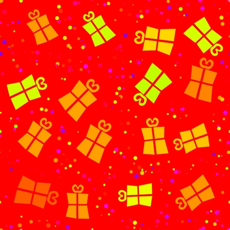 yellow paper: Gift box gold on red - seamless digitally rendered pattern with computer drawing simple stylized shape of gifts in yellow orange red colors - Christmas or birthday wrapping paper