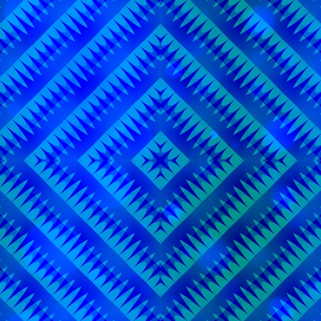 carpeting: Blue tonality rhombic tile able geometric carpeting design Stock Photo