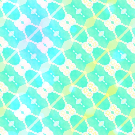 sickly: Abstract seamless turquoise blue yellow gold white ornamental pattern - digitally rendered background