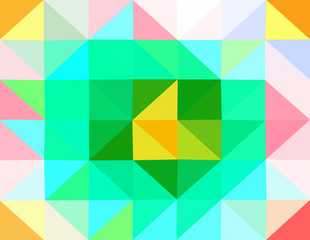 Abstract green turquoise orange yellow pink gray blue red white low poly triangular business background in op art style.