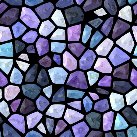 backcloth: Abstract mosaic pattern in cold shades of pink, white, gray, black, blue, violet colors. Digitally rendered seamless background.