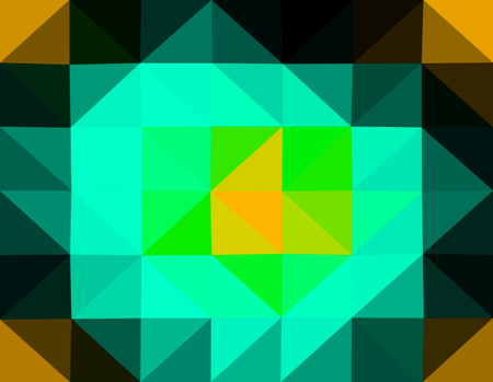 Abstract gold black turquoise green yellow low poly triangular business background in op art style.