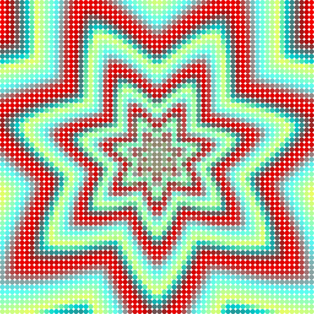 composed: Floral mesh grid tile composed of small colorful points