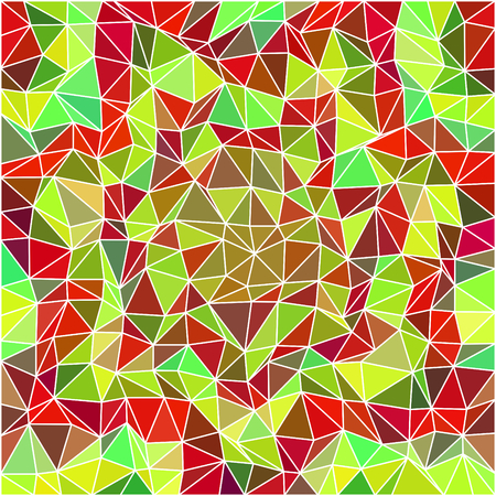 Abstract low poly triangular floral decorative unusual stylized modern pattern - square background with small mosaic tiles in cubist or op art style Illustration