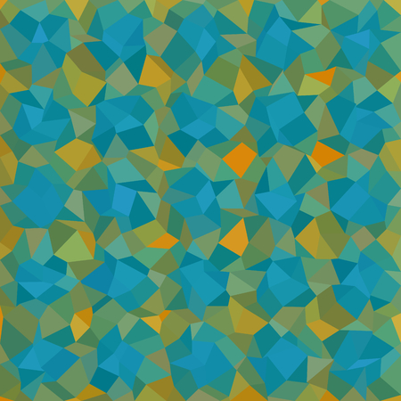 composed: Turquoise blue orange green checkered pattern composed of small triangular mosaic tiles