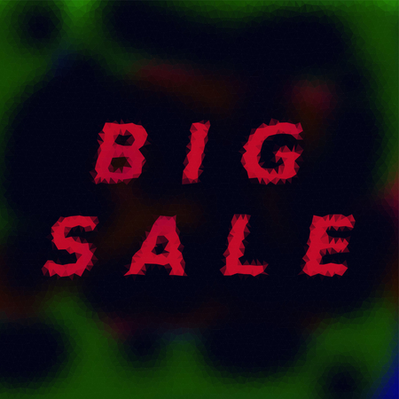 distinctive: Chaotic polygonal tile with distinctive red sign big sale. Use as a banner for a season or special sales events.