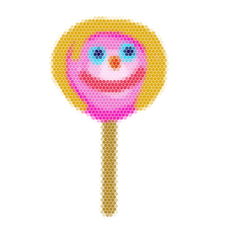Lollipop in the shape of childs face - a simple graphical representation reminds childs drawing. Illustration consists of small pieces of mosaic Illustration
