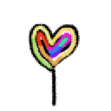 Lollipop in the shape of hearts - a simple graphical representation reminds childs drawing. Illustration consists of small pieces of mosaic.