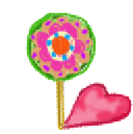 Lollipop in the shape of flower with heart-shaped leaf or shadow - a simple graphical representation reminds childs drawing. Illustration consists of small pieces of mosaic.