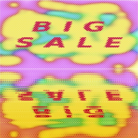 gaudy: Big sale - creative square banner with inscription - red on vibrant yellow turquoise pink stained background with mirror reflections Stock Photo