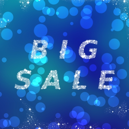 composed: Big sale - creative square banner with inscription - composed of white snowflakes on turquoise blue bokeh background Stock Photo