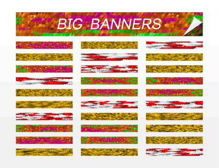 polly: Big banners - set of colorful horizontal backgrounds - standardized ratio bands - abstract low polly patterns Illustration