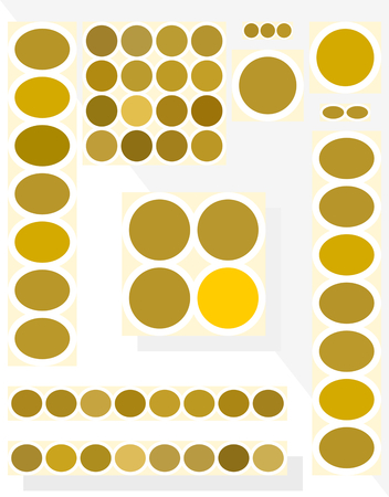 horizontally: Set of cubist simple gold-white-yellow banners in standardized ratio. Horizontally, vertically, square, big, small. Simple geometric flat graphic. Illustration
