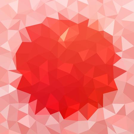 underlay: Red triangular background with light round border