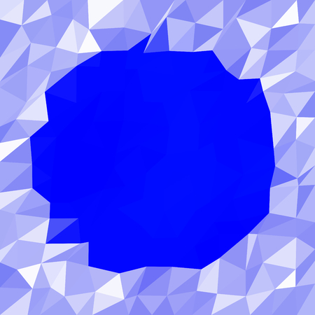 icy: Abstract triangular grid blue white icy winter background with snow crystals, a round highlighted border. Illustration