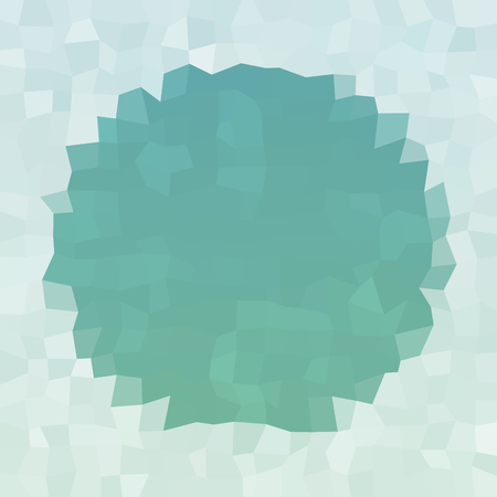 Abstract pastel mint blue white icy winter background with snow crystals, a highlighted round border.