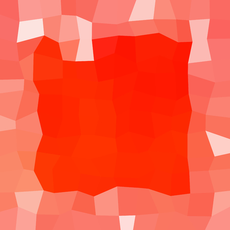 Abstract red white low poly icy winter background with snow crystals, a square highlighted border.