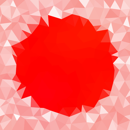 icy: Abstract icy triangular red white winter background with snow crystals, a highlighted round border.