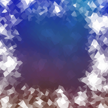 perl: Abstract blue brown white polygonal icy winter background with snow crystals, a highlighted border. Illustration
