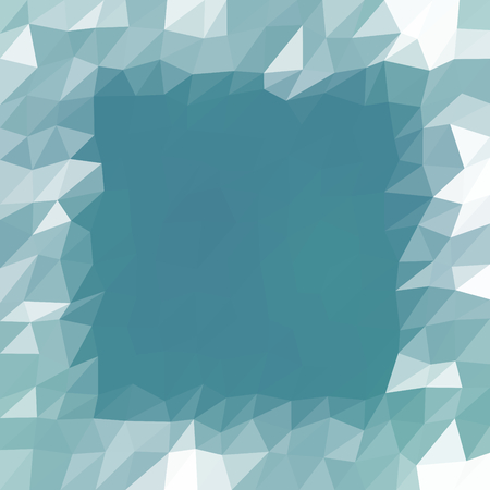 Abstract mint turquoise white triangular icy winter background with snow crystals, a highlighted border.