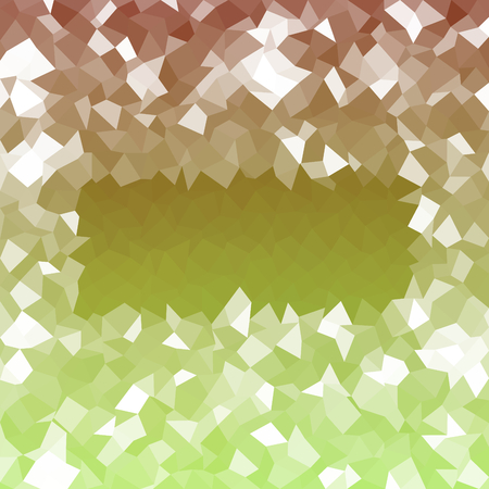 trapezium: Abstract brown green white icy winter background with snow crystals, a highlighted border. Illustration